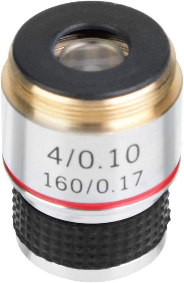 Lente de microscopio, 4X 185 Microscopio biológico Objetivos acromáticos Lente 160/0.17 5 × 5 × 5 cm Eliminar Reflejos no deseados