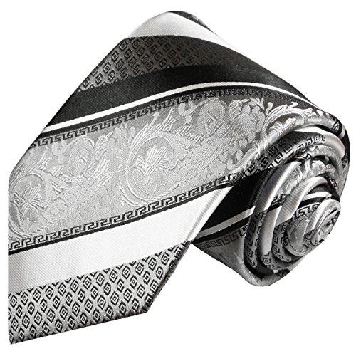 Cravate homme argenté noire rayée 100% soie