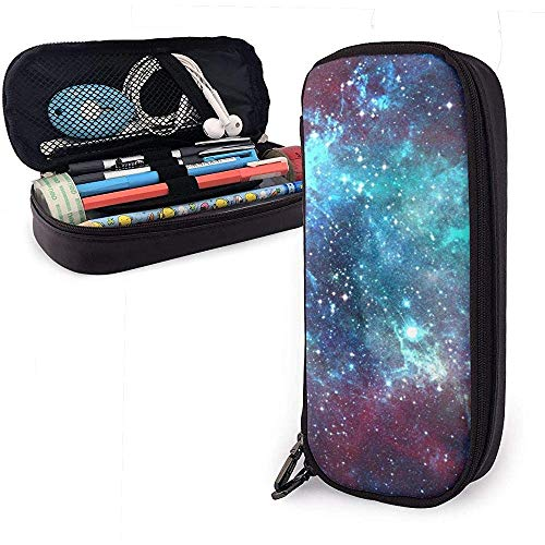 Pencil case Pu Leather Pen Case Space Galaxy Pencil Stationery Pouch Bag Zipper Pen Cosmetic Makeup Pouch Bag for School Work Office