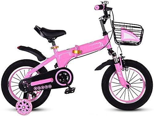 QXMEI Fahrrad Faltendes Fahrrad Der Kinder 2-4-6-7-8-9-10 Jahre Altes Jungenfahrrad,Rosa-14Inches