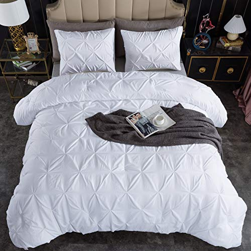Andency White Pinch Pleated Comforter Queen(90x90Inch), 3 Pieces(1 Pintuck Comforter and 2 Pillowcases) Pintuck Microfiber Down Alternative Comforter Bedding Set