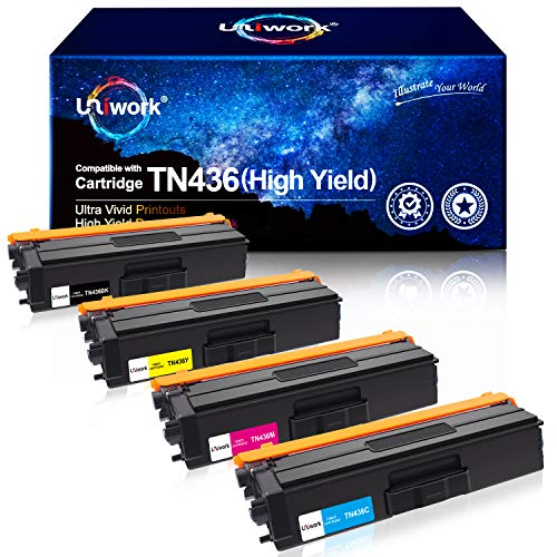 Uniwork Compatible Toner Cartridge Replacement for Brother TN436 TN 436 TN436BK TN433 use with MFC-L8900CDW HL-L8360CDW HL-L8260CDW MFC-L8610CDW MFC-L9570CDW HL-L9310CDW Printer (4 Pack)
