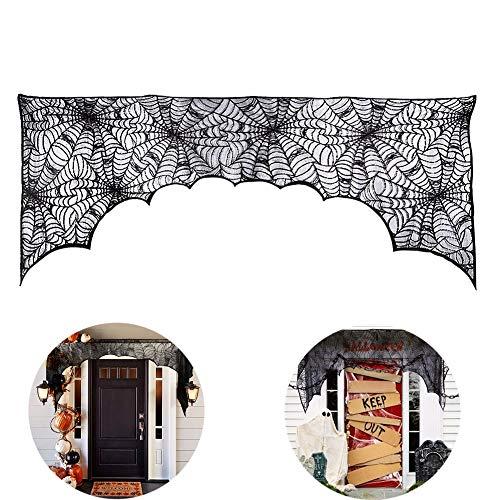 Halloween Cobweb Open Haard Sjaal, Zwarte Kant Spiderweb Mantle Sjaal Cover, Supplies voor Halloweenfeesten, Decor en Spookachtige Maaltijden 74 x 35 Inch