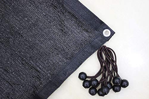 Jesasy 70% Sunblock Shade Cloth with Grommets for Garden Patio 10ft X 12ft Black+Free 10pcs 6' Ball Bungee