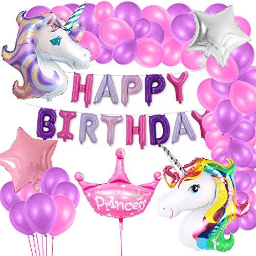 Bluelves Einhorn Geburtstag Dekorationen Mädchen, 2 riesige Folie Einhorn Thema Party Luftballons,Geburtstagdeko Banner,Star Regenbogen Luftballons, Geburtstags feierzubehör für Kinder