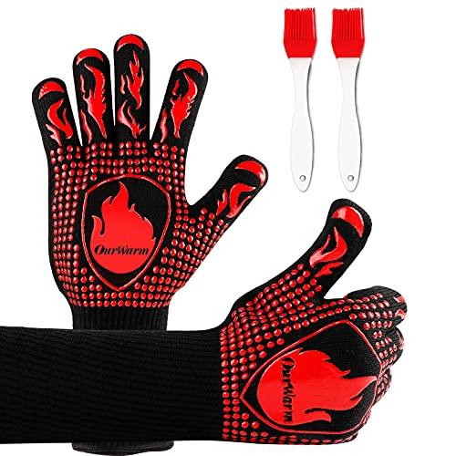 OurWarm BBQ Grillhandschuhe,800 ℃ Extrem Grillhandschuhe Hitzebeständig,Grillhandschuhe,Grill Handschuhe mit Zwei grillbürste,Silikonisolierte grillhandschuhe zum Kochen Backen und Schweißen