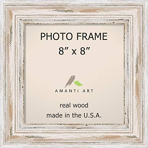 Amanti Art Picture/Photo Frame 16x20 Matted to 10x13, Alexandria White Wash | Picture Frame 16.00 x 20.00 inches | Wood Frame | X-Small Photo Frame