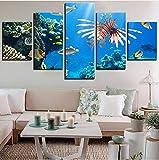 wmyzfs Obra de Pared Modular Home Decoraiton 5 Piezas Animal Marino HD Imprimir imágenes Lienzo Pintura Cartel para Sala de Estar sin Marco