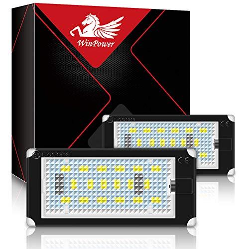 WinPower LED Kennzeichenbeleuchtung Glühbirnen Nummernschildbeleuchtung Lampe 3582 SMD mit CanBus Fehlerfrei 6000K Xenon kaltweiß für 1998-2003 3er E46 2D (2 Türen) /M3 usw, 2 Stücke