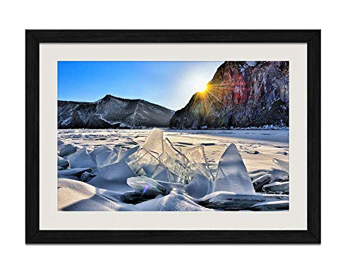 KaoHun Lake Baikal Snow ice Mountains Sun Winter - Black Wood Frame Prints Posters 24x16 inches