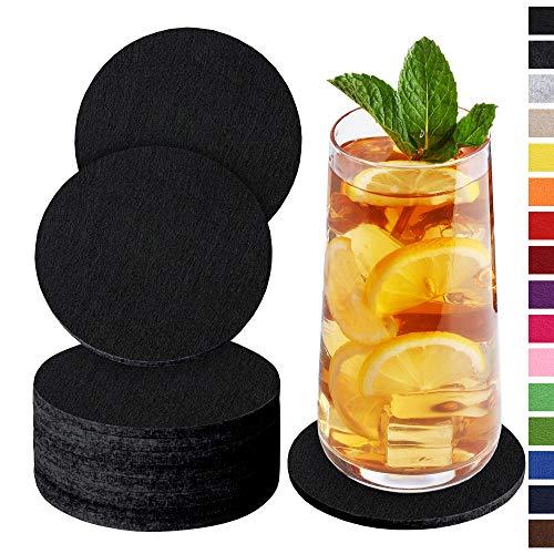Sidorenko Sottobicchieri in feltro rotondi per bicchieri - Set di 10 - Sottobicchieri di vetro di design in nero per bevande, tazze, bar, vetro - Sottobicchieri da tavolo