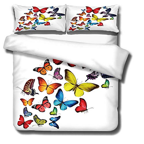 DJDSBJ Duvet cover polyester cotton bedding for adults and children,single quilt covers 135x200cm + 2 pillowcases.Colorful butterfly