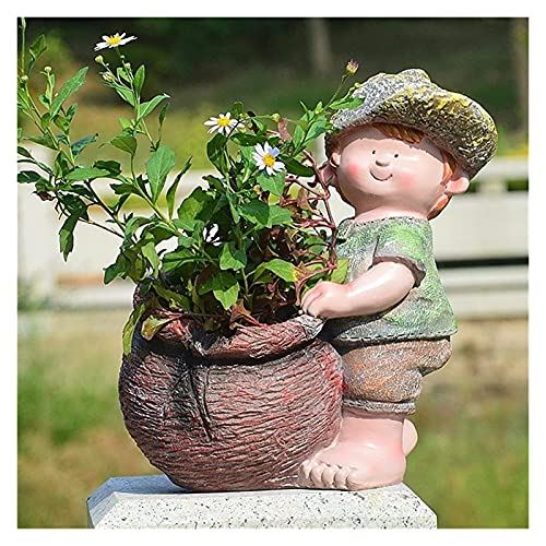 YANRUI Blumentopf Dekoration Garten Skulptur Statue Outdoor Garten Sukkulente Ton Topf Vase Dekoration Dekoration Dekoration Zubehör Fee Geschenk (Color : A)