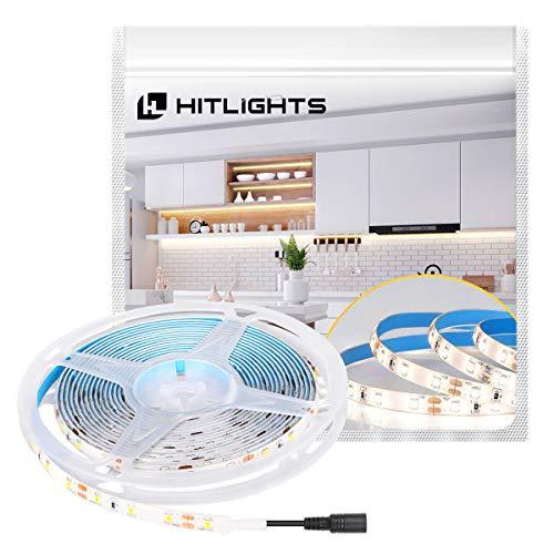 HitLights LED Strip Lights Cool White SMD 300LED 164FT 3528 LED Light Strip 5000K 12V DC Tape Lights for Home Kitchen Party Under Cabinet and More