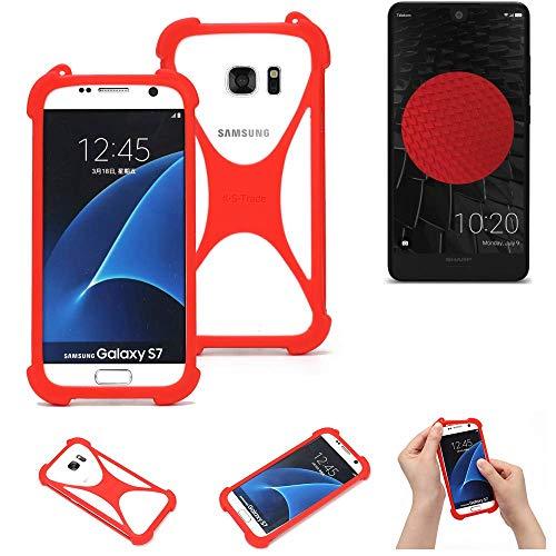 K-S-Trade® Handyhülle Für Sharp Aquos C10 Schutzhülle Bumper Silikon Schutz Hülle Cover Case Silikoncase Silikonbumper TPU Softcase Smartphone, Rot (1x)