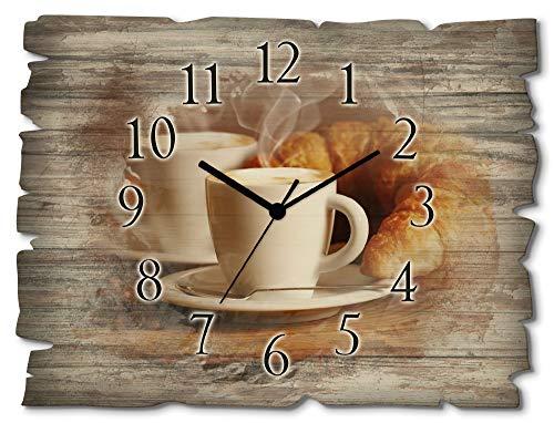 Artland Wanduhr ohne Tickgeräusche aus Holz Funkuhr 40x30 cm Rechteckig Lautlos Kaffee Cappuccino Croissant Coffee Cafe Originell T5XO