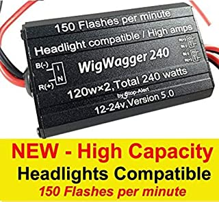 Stop-Alert WigWagger 240 HEADLIGHT Wig Wag Alternating Flasher Electronic Relay LED Xenon Halogen HID Incandescent - Emergency Police Ambulance Trucks 10 AMP 240W 12-24V 150 FPM