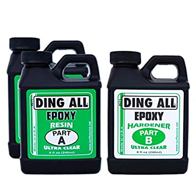 Ding All 24 Ounces Epoxy Resin Kit with 2 Parts Resin to 1 Part hardener For Surfboard Construction, Ding Repairs, and Other Epoxy Repair Projects