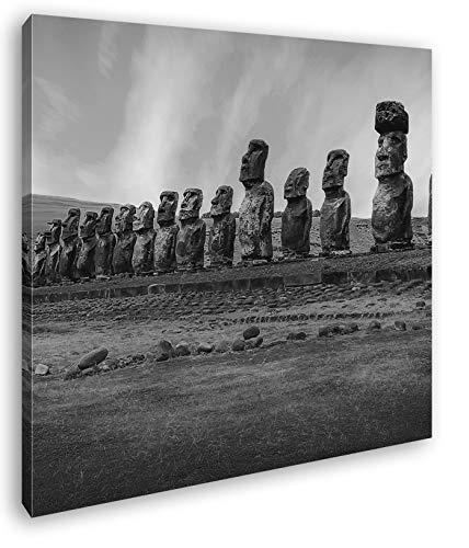 deyoli Steinköpfe auf den Osterinseln Format: 40x40 Effekt: Schwarz&Weiß als Leinwandbild, Motiv fertig gerahmt auf Echtholzrahmen, Hochwertiger Digitaldruck mit Rahmen, Kein Poster oder Plakat