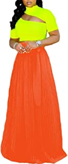 Women Fashion Ankle Length Elastic Pleated Chiffon Maxi Long Skirt