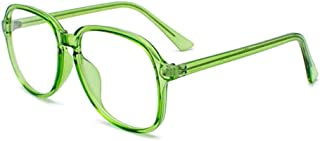 Fuyingda Unisex Full Frame Glasses Oval Frame Retro Transparent Lens Optical Eyewear