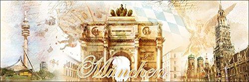 Pro-Art-Bilderpalette g5108e Tableau Mural Impression giclée Motif Munich 150 x 48 cm [Texte en Allemand], Multicolore, 120 x 40 cm