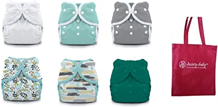 product image for Thirsties Duo Wrap Snaps Size 2 Gender Neutral Colors 6 Pack and Dainty Baby Reusable Bag Bundle