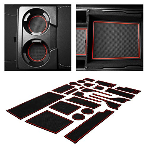 CupHolderHero fits Ford Fusion Accessories 2017-2020 Premium Custom Interior Non-Slip Anti Dust Cup Holder Inserts, Center Console Liner Mats, Door Pocket Liners 22-pc Set (Red Trim)