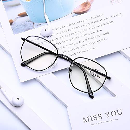 DOOViC Blaulichtfilter Computer Lesebrille Schwarz Metall Rahmen Große Gläser Brille mit Stärke für Herren/Damen 1,5