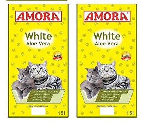 2 x 15 Liter Amora Katzenstreu White Compact Aloe Vera