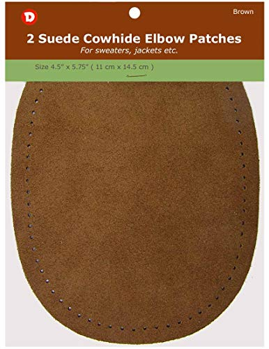 2 Natural Suede Leather Sew-On Elbow Repair Patches 4.5 x 5.5 in Camel