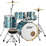 Eastar Drum Set for Adult Junior Teen, 5 Piece Professional Full Size Drum Kit with Cymbals Stands Stool and Sticks, 20 inch, , Blue