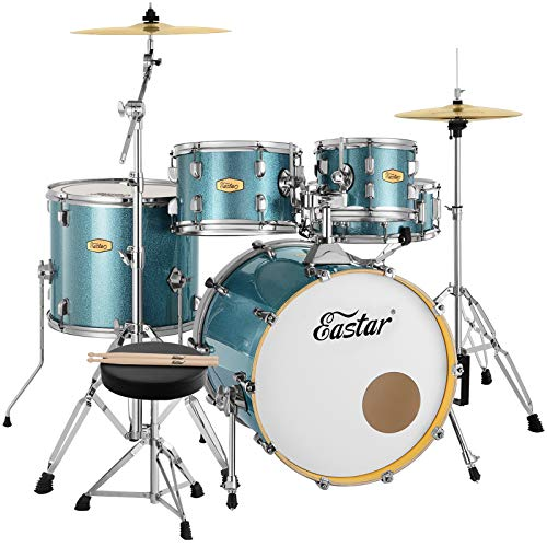 Eastar 20 Inch Drum Set for Adult Junior Teen, 5 Piece Professional Full Size Drum Kit with Cymbals Stands Stool and Sticks, Starry Blue