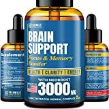 Brain Supplement for Focus, Energy, Memory & Clarity - Made in USA - Natural Nootropic Brain Booster with Ginkgo Biloba, Ginseng & L-Tyrosine - Neuro Formula for Learning, Mood Boost & Mental Health