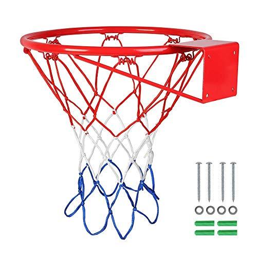 HAOYF Llanta de baloncesto colgante Goal Hoop de alto rendimiento, montaje en pared con red, 15 pulgadas / 18 pulgadas