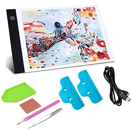 Gosear Tablette Lumineuse A4, Table Lumineuse Dessin, A4 Ultra-Mince Portable Tablette Lumineuse pour Broderie Diamant, Esquisser, Animation