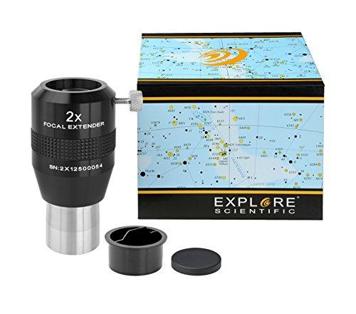 Explore Scientific Fokal Extender 2x 31.7mm/1.25 Zoll Barlowlinse zur Erhöhung der Brennweite für Teleskope