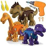 STAY GENT Dinosaurios Juguetes con Taladro Eléctrico para Niños 3 Packs DIY Dinosaurio Educativo Juguete con Juego Construccion Puzzle Stem Regalo para Chicos Chicas Niñas 3 4 5 6 7 Años