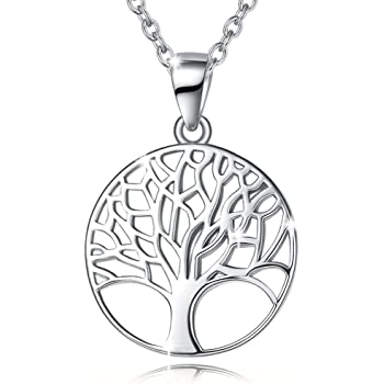Agvana Sterling Silver Tree of Life Necklace for Women Dainty Family Tree Pendant Necklace Birthday Anniversary Jewelry Gifts for Teen Girls Mom Grandma Wife Sister Daughter Her Yourself, 16+2 Inch