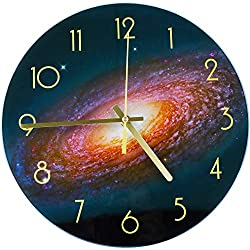 WISKALON 12 Inch Wall Clock,Round Glass Wall Clock,Silent Non-Ticking Battery Operated Wall Clock,Arabic Numerals Wall Clock,Indoor Decorative Hanging Wall Clock (Solar System Starry Sky Pattern)