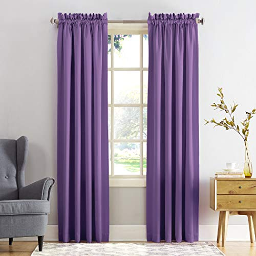 Sun Zero Barrow Energy Efficient Rod Pocket Curtain Panel, 54' x 84', Purple, One Panel