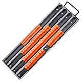 Socket Organizer, SEDY Metal-Base Socket Holders, 80pcs ABS Orange Clips, 1/4', 3/8', 1/2', Premium Quality Drive Socket Clips Rail with Carrying Handle