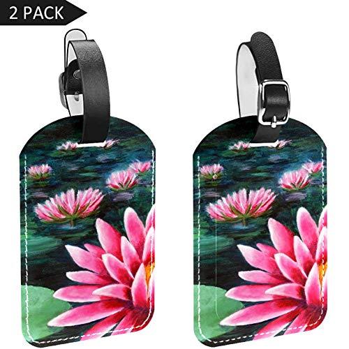 LORVIES Waterlelie Schilderij Bagage Tags Reizen Labels Tag Naam Kaarthouder voor Bagage Koffer Tas Rugzakken, 2 PCS