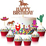 61 Pcs Cowgirl Cake Toppers Set Pink Western Cowgirl Cake Picks Horse Boot Hat Cactus Mexican Theme Cake Decorations Glitter Western Cowgirl Theme Party Decorations for Baby Shower Birthday Party
