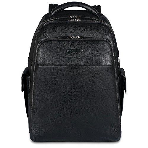 Piquadro Notebook Rucksack mit iPad Luftfach Flaschenhalter, schwarz, One Size