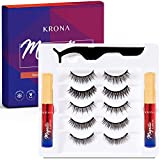 KRONA Magnetic Eyelashes with Eyeliner - Magnetic Eyelashes and Eyeliner - Eyelashes with Natural Look - Comes with Applicator - No Glue Needed