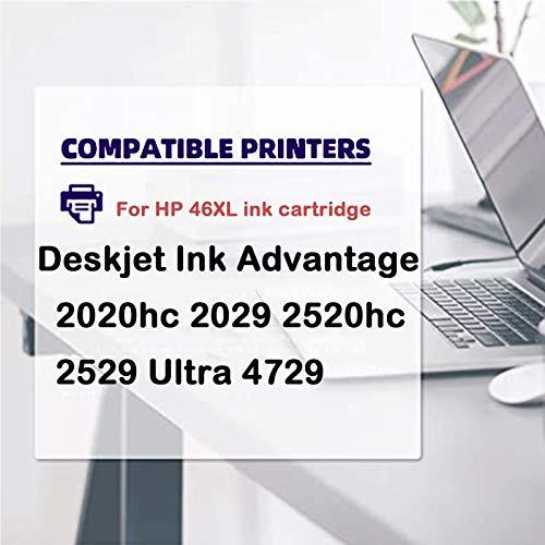 Cartucho de tinta 46XL, repuesto de alto rendimiento para HP Deskjet Ink Advantage 2020hc 2029 2520hc 2529 Ultra 4729 cartuchos de tinta de impresora en negro y tricolor 2 tricolor