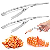 Pelador de camarones de acero inoxidable, pinza de cocina Easy Peel para camarones (2 piezas)
