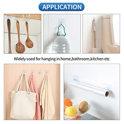 N/Q Premium Adhesive Hooks Kitchen Wall Hooks,Heavy Duty 13lb(Max) Wall Hooks, Transparent Reusable Seamless Hooks with Stainless Hooks Reusable Utility Towel Bath Ceiling Office Window Hooks,10 Pack
