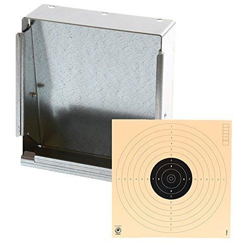 shoot-club24 Kugelfang, Scheibenkasten aus Edelstahl 17 x 17cm + 10 Zielscheiben für Luftpistole, Luftgewehr, Co2 Waffen und Softair 17 x 17 cm